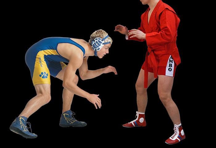 на фото боец вольник стоит напротив спортсмена самбиста
