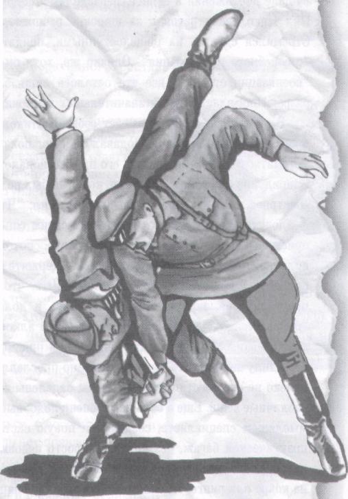демонстрация приема рукопашного боя сотруднико милиции